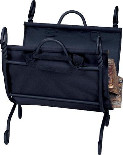 UniFlame Ring Swirl Black Log Rack with Canvas Carrier (Tool Swirl Fireplace)