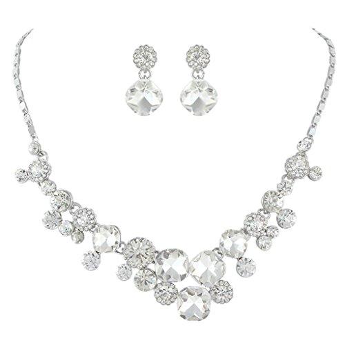 EVER FAITH Art Deco Bridal Necklace Clip-on Earrings Set Clear Austrian Crystal Silver-Tone Clear Necklace Set