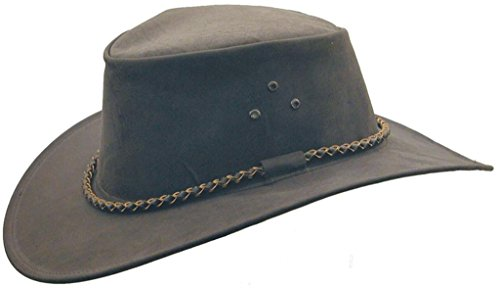 (Kakadu Australia The Roo Traveller Leather Hat-Kangaroo Leather Made in Australia Charcoal)