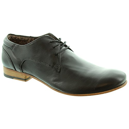 Paolo Vandini Ranger chaussures en cuir et dentelle Noir