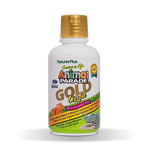 NaturesPlus Animal Parade Source of Life Gold Children's Liquid Multivitamin, 16 OZ - Natural Tropical Berry Flavor - Immune Support Supplement - Organic, Gluten-Free, Vegan- 32 Servings
