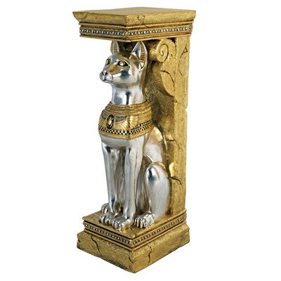 Design Toscano Egyptian Cat Goddess Bastet Pedestal Column Plant Stand, 37 Inch, Fiberglass Polyresin, Silver and Gold ()