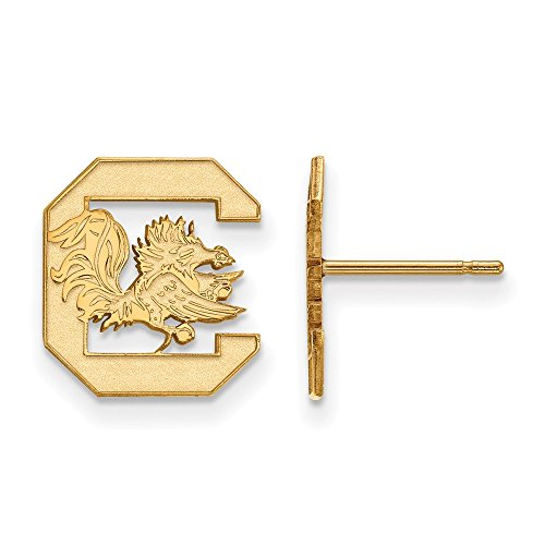 (Jewelry Stores Network South Carolina Gamecocks School Letter Logo Post Earrings Gold Plated Silver S - (12 mm x 11 mm))