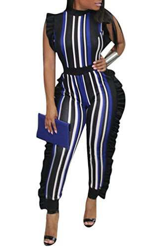 c9e9869726 Remelon Womens Sleeveless Stripe High Neck Ruffle High Waist Bodyocn  Jumpsuits Long Romper Pants