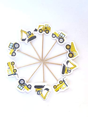 Constructions Cupcake Toppers 12 pcs, Trucks Cake Picks Birthday Decoration Party Supplies, Wonka Baby Shower Themed -