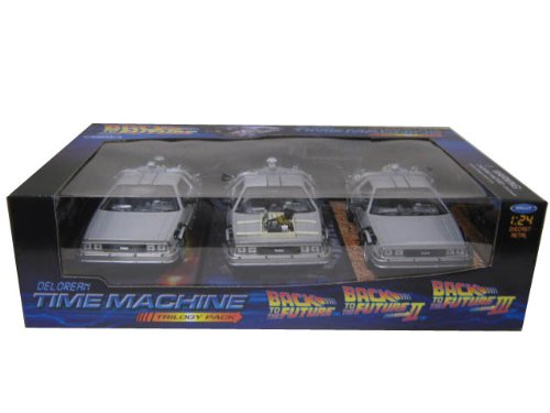 Back To The Future 1, 2, 3 Trilogy Set Delorean Time Machine 1/24 by Welly 22400-3G