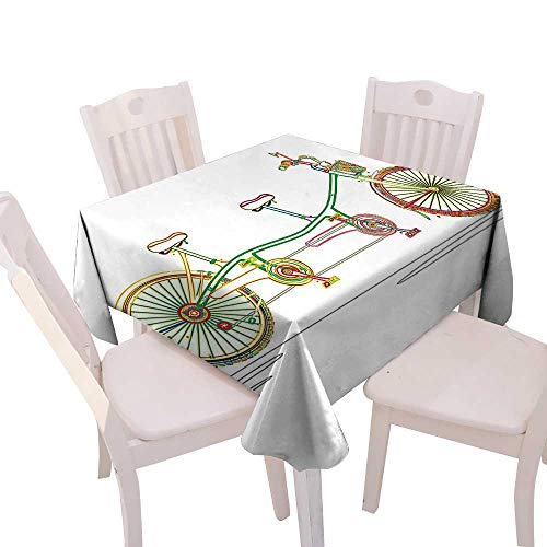 - Cheery-Home Durable Polyeste Tablecloth Summer & Outdoor Picnics,(W50 x L50) Decorative Colorful Tandem Bicycle Design on White Background Pattern Clipart Style Print Multicolor.