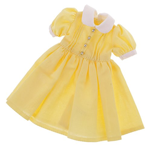 MagiDeal 1/6 Trendy Doll Dress Skirt Clothes Outfit for 12inch OOAK Takara Blythe Doll Neo Blythe Nude Dolls DIY Making Accessories Yellow