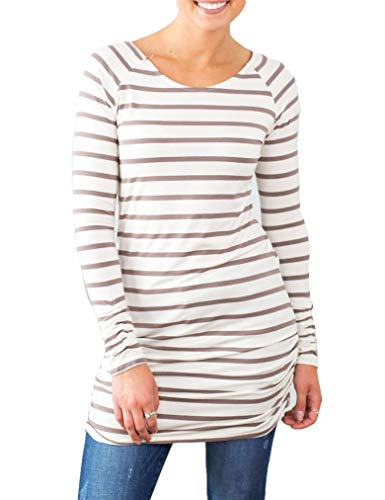 OURS Women's Maternity Tunic Tops Flattering Side Ruching Long Sleeve Scoop Neck Pregnancy T-Shirt (XXL, Coffee)