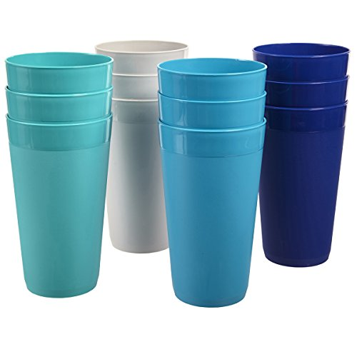 US Acrylic Newport 20-ounce Unbreakable Plastic Tumblers | set of 12 in 4 Coastal Colors by US Acrylic