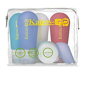 KAIROS-GO Ultimate 6-Piece Travel Toiletry Bottles Set –4x 3oz Leakproof & TSA-Approved Silicone Squeeze Liquid Containers, Portable Toothbrush Holder & Cream/Pills Jar In Clear Carryon Case