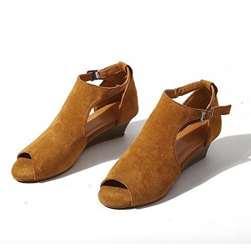 Plat Mode Rome Femme Chaussures Pantoufles Plate Sandales Haut Sandales Talon Cheville Été Chaussures Bohème Jaune Toe Forme Chaussures Wedge JIANGfu Sangle Peep Sx4Hnx