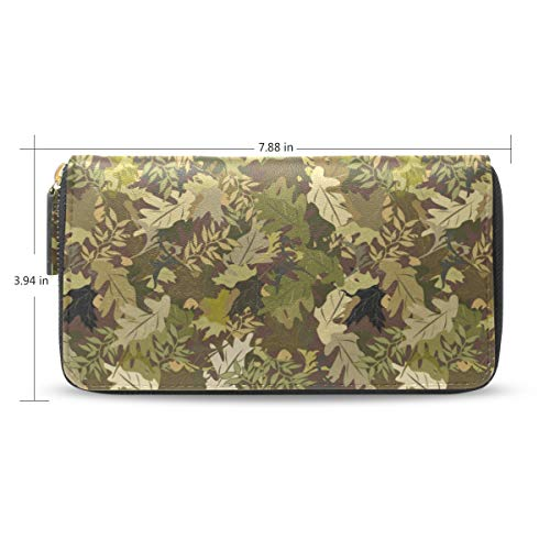 Women Army Jungle Camo Green Leather Wallet Large Capacity Zipper Travel Wristlet Bags Clutch Cellphone Bag