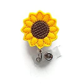 """Sunflower - Retractable Id Felt Badge Holder - Name Badge Holder - Cute Badge Reel - Nursing Badge - Felt Badge Reel 53 ►► Belt Clip (send a message IMMEDIATELY after placing order if you prefer an alligator clip) 24"""" retractable cord Comes from our smoke free studio"""