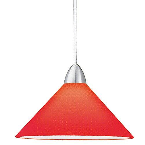 (WAC Lighting MP-LED512-RD/BN Jill LED 1 Light Canopy Pendant, Red/Brushed Nickel)