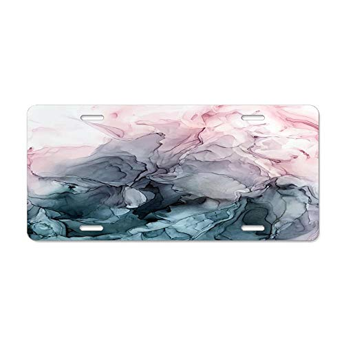 Auto Tag 6x12 Aluminum Sign - Metal License Plate, Front License Plate, Car Tag for Women/Men - Blush and Paynes Grey Flowing Abstract ()