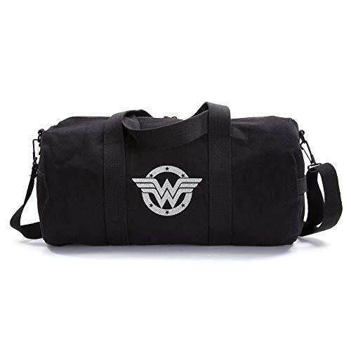 Wonder Woman Logo Heavyweight Canvas Duffel Bag, Black & Glitter Silver, Medium