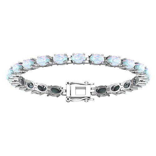 Bracelets Opal Oval (Solid Sterling Silver 6x4mm Oval Cut 6.5 CTW Opal Brilliant Sparkle Tennis Bracelet for Women, Box Chain with Safety)