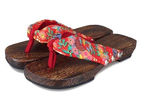 CRB Fashion Womens Japanese Kimono Geta Sandals Shoes Slippers Clogs (38, Red)