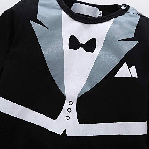 LJYH Baby Boy Romper Tuxedo Jumpsuit Gentleman One-piece Romper Bowtie Bodysuit Black (US 12-18mos/Asian80)