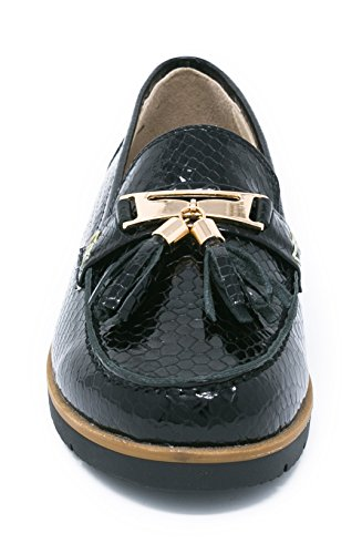 US Zapato Nautico Negro Para Coleccion Piso Mujer Estilo BOBERCK 8 Thea Cuero de de Bajo ZqFnAOEw