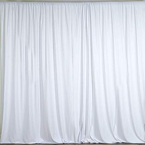 New Creations Fabric & Foam 10 Feet Wide by 10 Feet High Seamless Polyester Backdrop Drapes Curtains Panel - (White) (& Curtains Drapes)