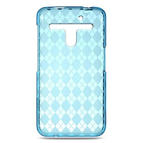 Insten Checker TPU Rubber Candy Skin Case Cover Compatible with LG Esteem MS910/Revolution VS910, Blue ()