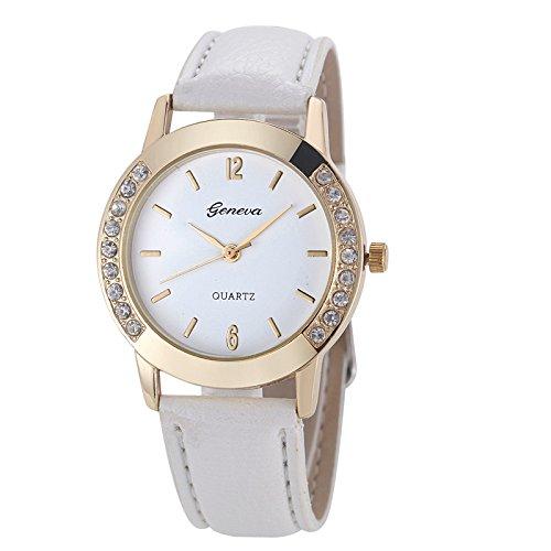 men Watch Fashion Women Diamond Analog Leather Quartz Wrist Watch Watches (White) ()