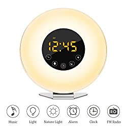 Wake Up Light, Cozime 2017 New Design Digital Sunrise Alarm Clock, Sunrise/Sunset Simulator, 7 Colors Night Light (Touch Control, FM Radio, Nature Sounds, Snooze Function For Heavy Sleepers)