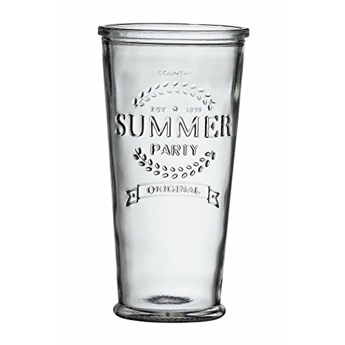 (Amici Home, A7CYC002S6R, Summer Party Hiball Drinking Glass, Relief Lettering, Dishwasher Safe, Set of 6, X-Large, 24)