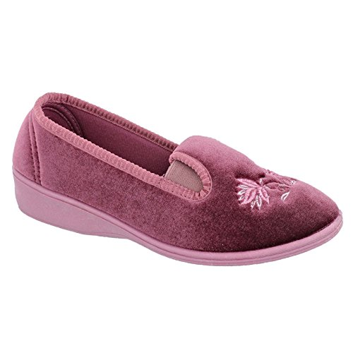 Slipper Shoes Womens Velour Antoinette New Dunlop Wedge Heather Heel Low CP7qw