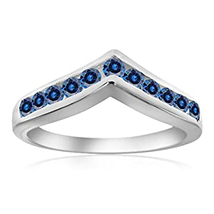 0.35 Ctw. Blue Diamond Channel Set Wedding Band In 10K White Gold