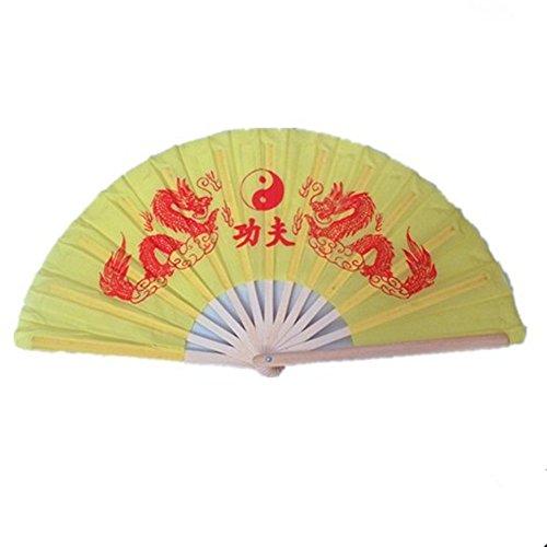 OPACC 15 inch Bamboo Chinese Fan Tai Chi Kung Fu Folding Fan With Dragon Design (Yellow)