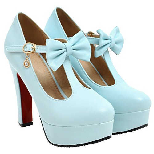 AIYOUMEI Damen T-spangen Plateau Pumps mit Schleife High Heel Blockabsatz Elegant Abend Schuhe Blau