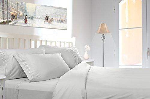 Clara Clark Premier Sheets Set, White - California King, Triple Line Piping Embroidered on The Pillowcase, Egyptian Style Triple Brushed, Feels Like Micro Cotton Texture
