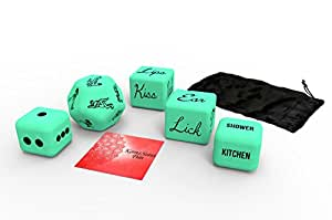 Kama Sutra Fun Sex Dice Glow in the dark fun perfect for couples, newlyweds, bachelor, and bachelorette parties (Hottest Green, XL 5 Pack)