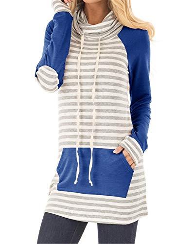 Blanycool Womens Cowl Neck Striped Sweatshirts Drawstring Casual Long Tunic Tops Pocket