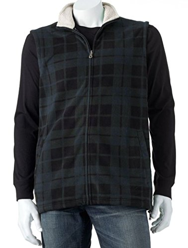 Croft & Barrow Mens Arctic Vest Blue Black Plaid Sz XL X-Large (Croft Barrow Leather Jacket)