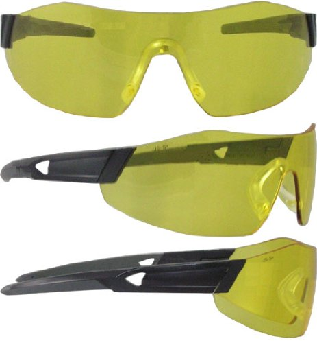Smith & Wesson 44 Magnum Yellow Black Polycarbonate Standard Safety Glasses - 99.9 % UV Protection - Wrap Around Frame - 23456 [PRICE is per - Frame Glasses Prices