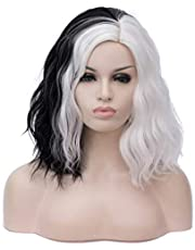 Cying Lin Short Bob Wavy Curly Wig Black and White Wig For Women Cosplay Halloween Wigs Heat Resistant Bob Party Wig (Black and White)+Wig Cap