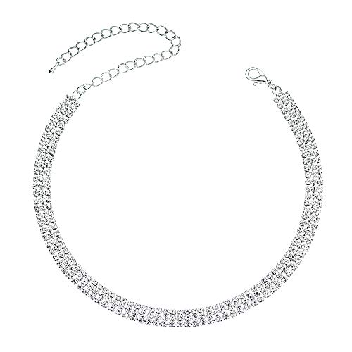 Miraculous Garden Silver Infinity Rhinestone Choker Necklace Birthday Gifts for Women,Party Wedding Bride Prom Fashion Crystal Jewelry Gift for Her. (3)