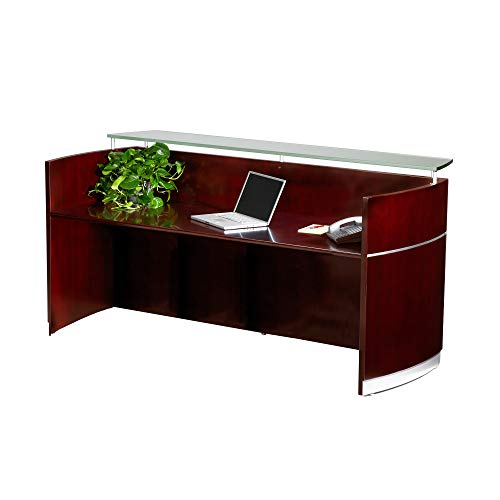 Mayline NRSCRY Napoli Freestanding Reception Station with Glass Transaction Counter Top, Sierra Cherry Veneer, Frosted Glass