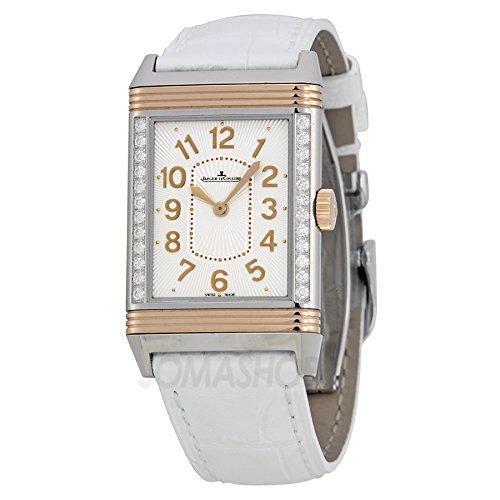 Jaeger LeCoultre Grande Reverso Ultra Delgado Plata Dial 18 kt Rose Oro Blanco Cuero Damas Reloj