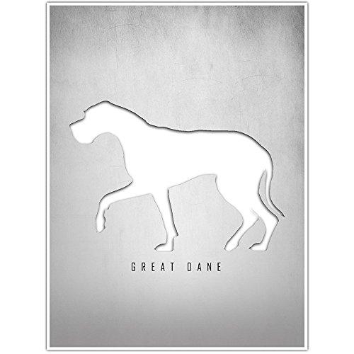 - Great Dane Silhouette Wall Art Decor Poster