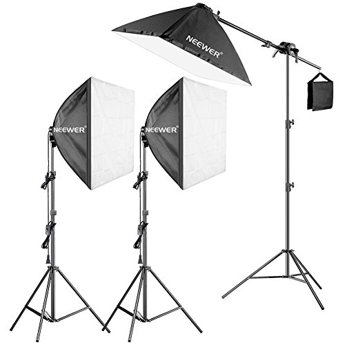 Neewer Photography Studio 600W Softbox Lighting Kit - 3 Packs 24x24 inches Softbox with 45W Fluorescent Light Bulb, Light Stands, Boom Arm and Sandbag for Portraits Video Shooting (US) ()