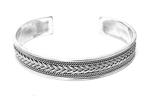 (joy-nin Sterling Silver Motif Carved Open Bangle Cuff Men Bracelet)
