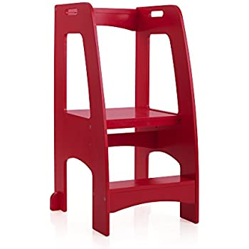 Amazon Com Guidecraft Kitchen Helper Tower Step Up Red