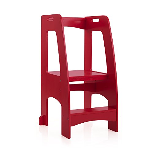 Guidecraft Kitchen Helper Tower Step-Up - Red: Adjustable Height, Wooden Step Stool with Side Support and Safety Handrails for Children - Kids' Cooking Furniture