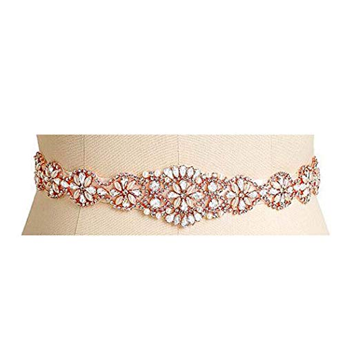Brishow Wedding Belt Rhinestone Crystal Bridal Sash Pearl Thin Appliques Bride Dress Belts Accessories for Women and Girls (Rose gold)