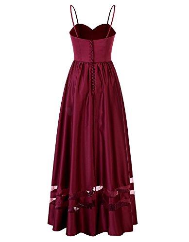 Alagirls Robes De Bal En Satin Femmes Longue Patchwork Chérie Robes De Fête Formelle Rose